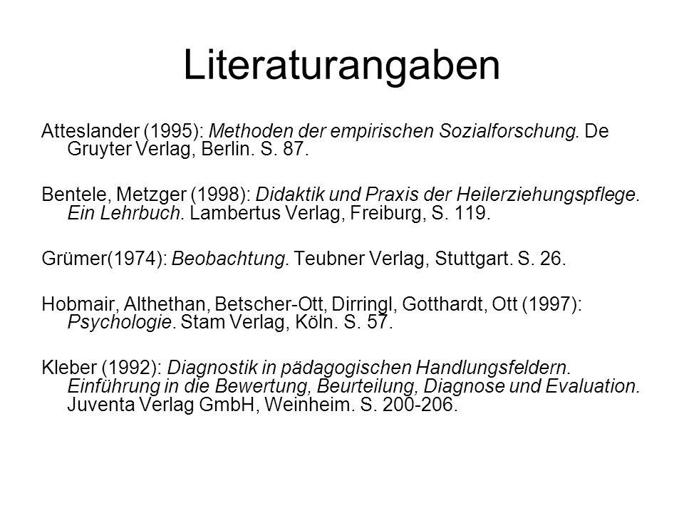 Literaturangaben Atteslander (1995): Methoden der empirischen Sozialforschung. De Gruyter Verlag, Berlin. S. 87. Bentele, Metzger (1998): Didaktik und
