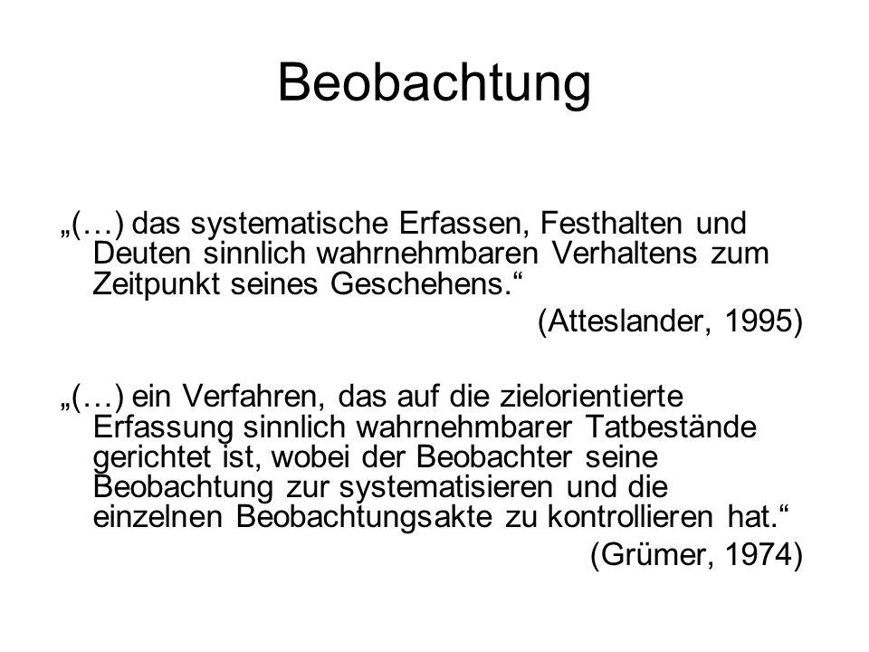 Beobachtung (…) das systematische Erfassen, Festhalten und Deuten sinnlich wahrnehmbaren Verhaltens zum Zeitpunkt seines Geschehens. (Atteslander, 199