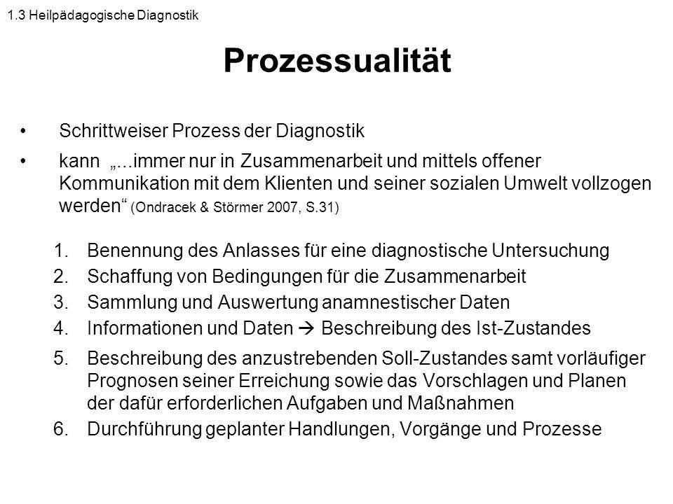 Prozessualität Schrittweiser Prozess der Diagnostik kann...immer nur in Zusammenarbeit und mittels offener Kommunikation mit dem Klienten und seiner s