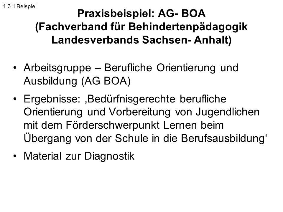 Praxisbeispiel: AG- BOA (Fachverband für Behindertenpädagogik Landesverbands Sachsen- Anhalt) Arbeitsgruppe – Berufliche Orientierung und Ausbildung (