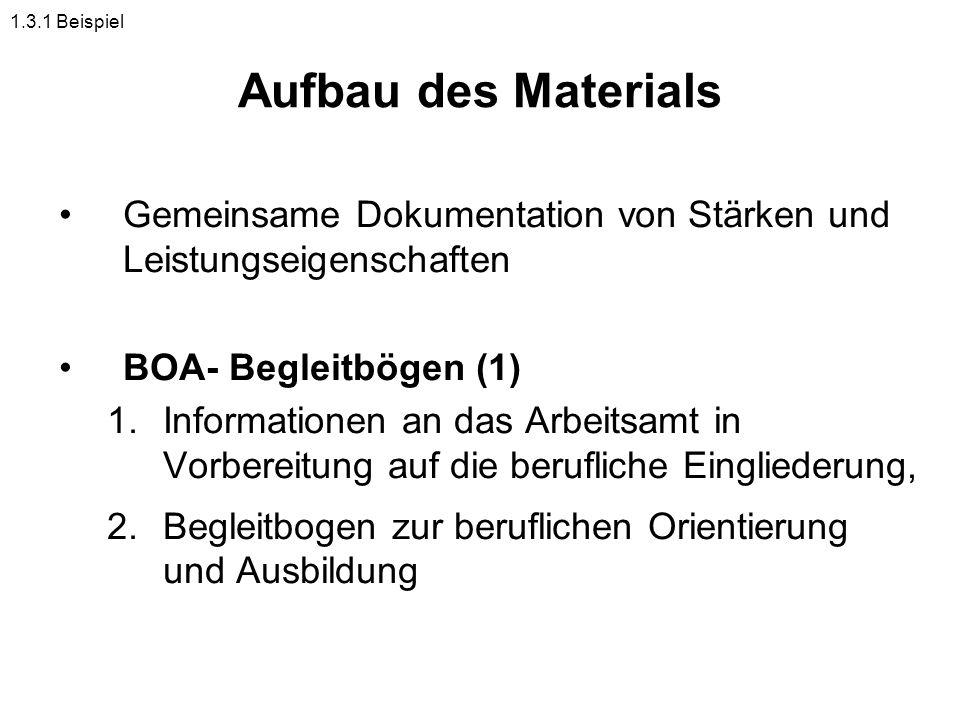 Aufbau des Materials Gemeinsame Dokumentation von Stärken und Leistungseigenschaften BOA- Begleitbögen (1) 1.Informationen an das Arbeitsamt in Vorber