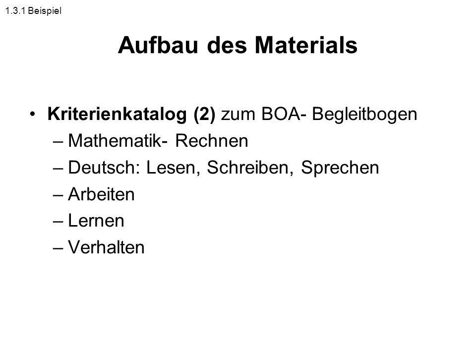 Aufbau des Materials Kriterienkatalog (2) zum BOA- Begleitbogen –Mathematik- Rechnen –Deutsch: Lesen, Schreiben, Sprechen –Arbeiten –Lernen –Verhalten