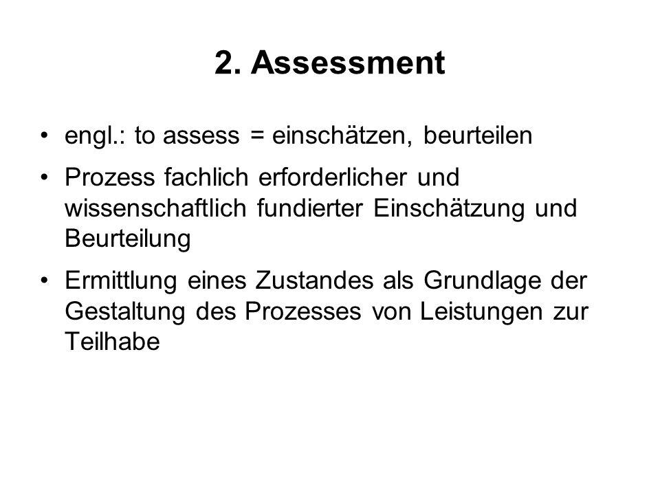 2. Assessment engl.: to assess = einschätzen, beurteilen Prozess fachlich erforderlicher und wissenschaftlich fundierter Einschätzung und Beurteilung