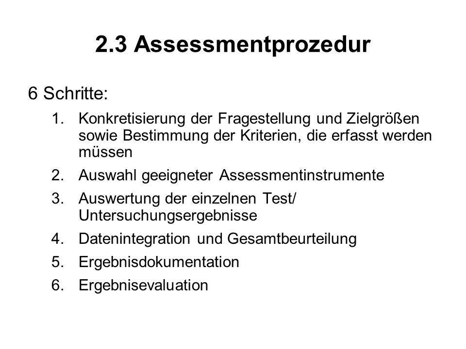 2.3 Assessmentprozedur 6 Schritte: 1.Konkretisierung der Fragestellung und Zielgrößen sowie Bestimmung der Kriterien, die erfasst werden müssen 2.Ausw