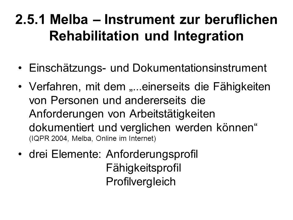 2.5.1 Melba – Instrument zur beruflichen Rehabilitation und Integration Einschätzungs- und Dokumentationsinstrument Verfahren, mit dem...einerseits di