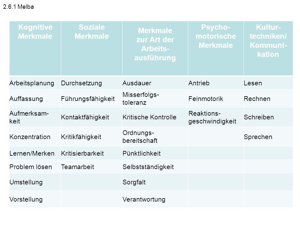 Kognitive Merkmale Soziale Merkmale zur Art der Arbeits- ausführung Psycho- motorische Merkmale Kultur- techniken/ Kommuni- kation ArbeitsplanungDurch