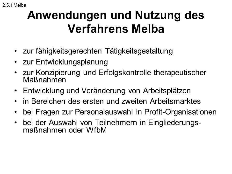 Anwendungen und Nutzung des Verfahrens Melba zur fähigkeitsgerechten Tätigkeitsgestaltung zur Entwicklungsplanung zur Konzipierung und Erfolgskontroll