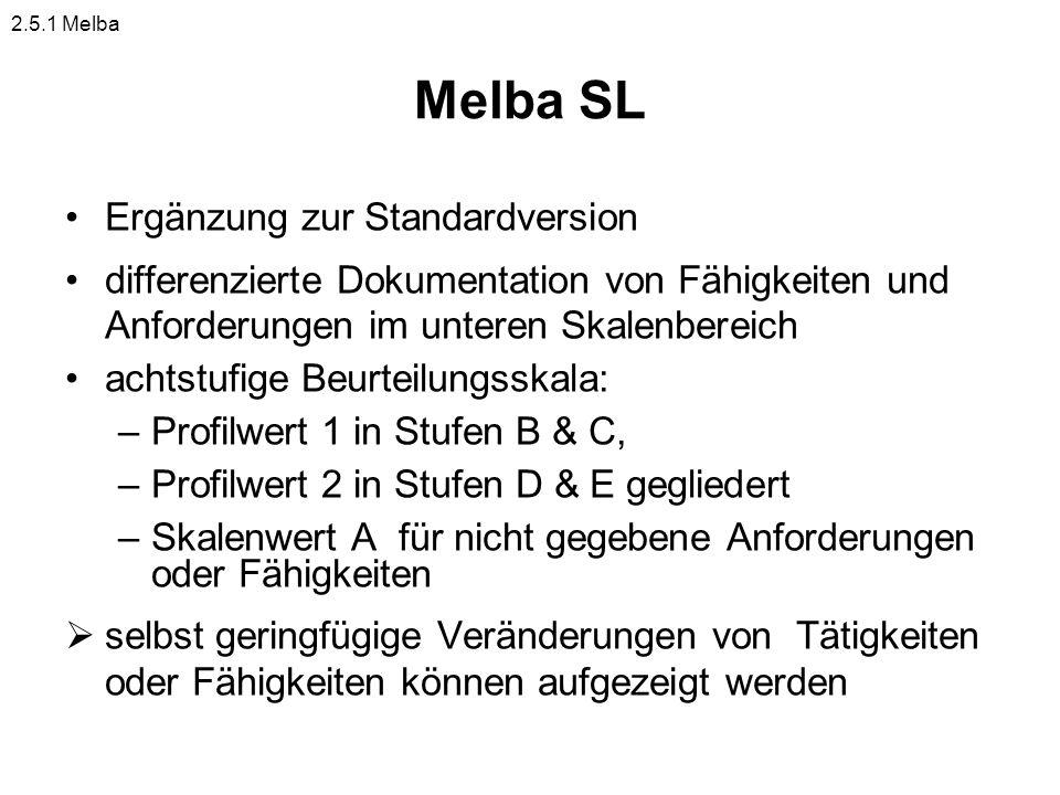 Melba SL Ergänzung zur Standardversion differenzierte Dokumentation von Fähigkeiten und Anforderungen im unteren Skalenbereich achtstufige Beurteilung
