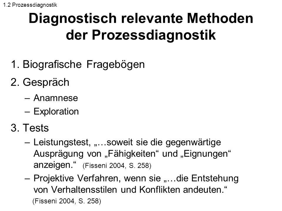 Diagnostisch relevante Methoden der Prozessdiagnostik 1. Biografische Fragebögen 2. Gespräch –Anamnese –Exploration 3. Tests –Leistungstest, …soweit s
