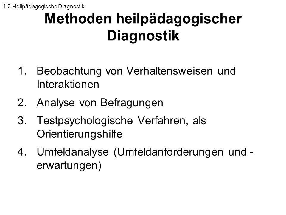 Methoden heilpädagogischer Diagnostik 1.Beobachtung von Verhaltensweisen und Interaktionen 2.Analyse von Befragungen 3.Testpsychologische Verfahren, a