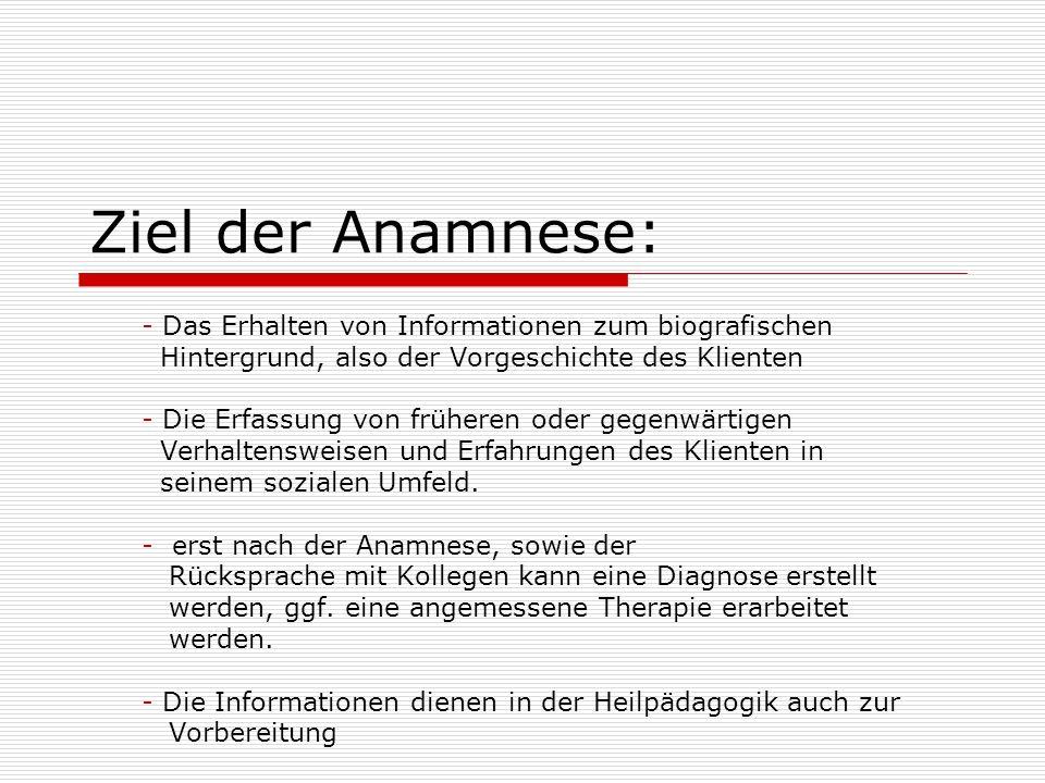 Ziel der Anamnese: - Das Erhalten von Informationen zum biografischen Hintergrund, also der Vorgeschichte des Klienten - Die Erfassung von früheren od