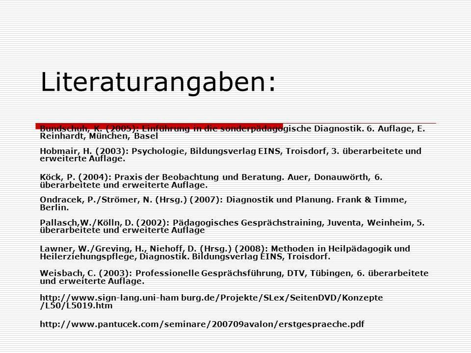Literaturangaben: Bundschuh, K. (2005): Einführung in die sonderpädagogische Diagnostik. 6. Auflage, E. Reinhardt, München, Basel Hobmair, H. (2003):