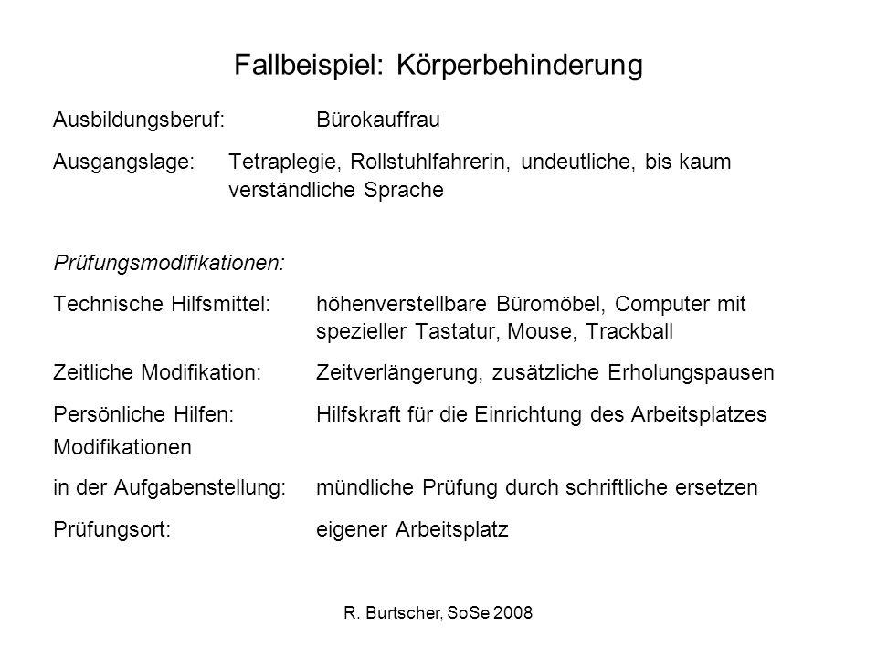 R. Burtscher, SoSe 2008 Fallbeispiel: Körperbehinderung Ausbildungsberuf: Bürokauffrau Ausgangslage: Tetraplegie, Rollstuhlfahrerin, undeutliche, bis