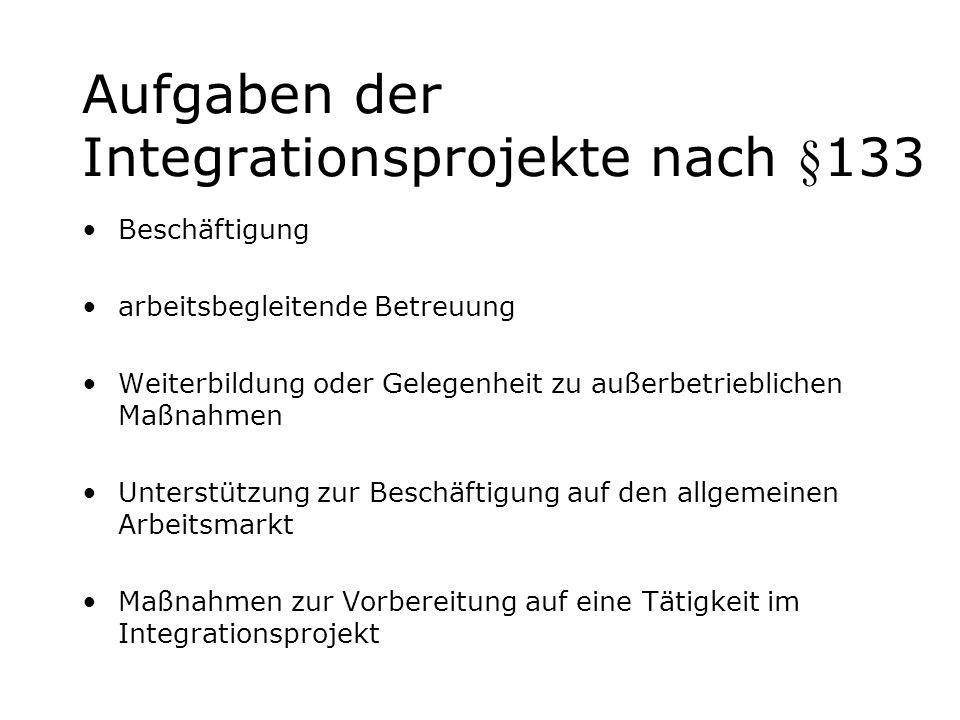 Aufgaben der Integrationsprojekte nach §133 Beschäftigung arbeitsbegleitende Betreuung Weiterbildung oder Gelegenheit zu außerbetrieblichen Maßnahmen