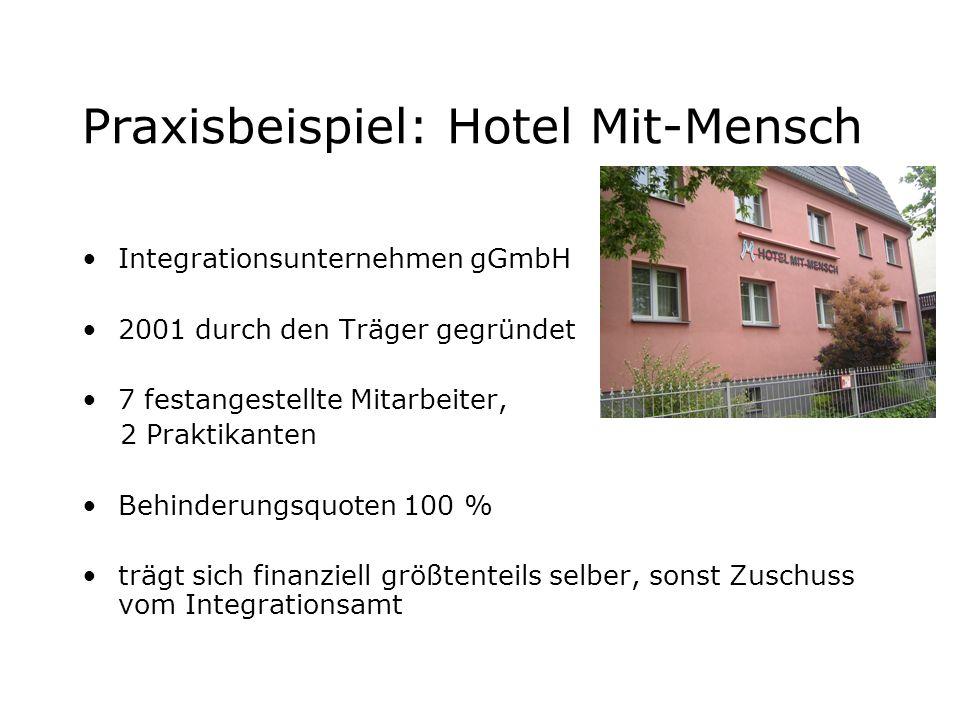 Praxisbeispiel: Hotel Mit-Mensch Integrationsunternehmen gGmbH 2001 durch den Träger gegründet 7 festangestellte Mitarbeiter, 2 Praktikanten Behinderu