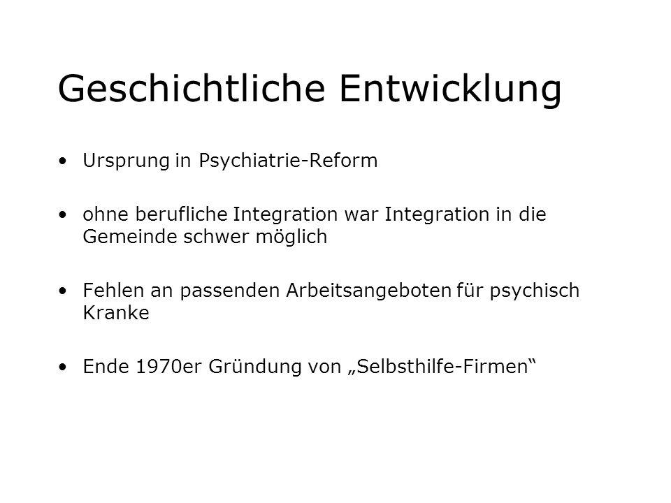 Geschichtliche Entwicklung Ursprung in Psychiatrie-Reform ohne berufliche Integration war Integration in die Gemeinde schwer möglich Fehlen an passend