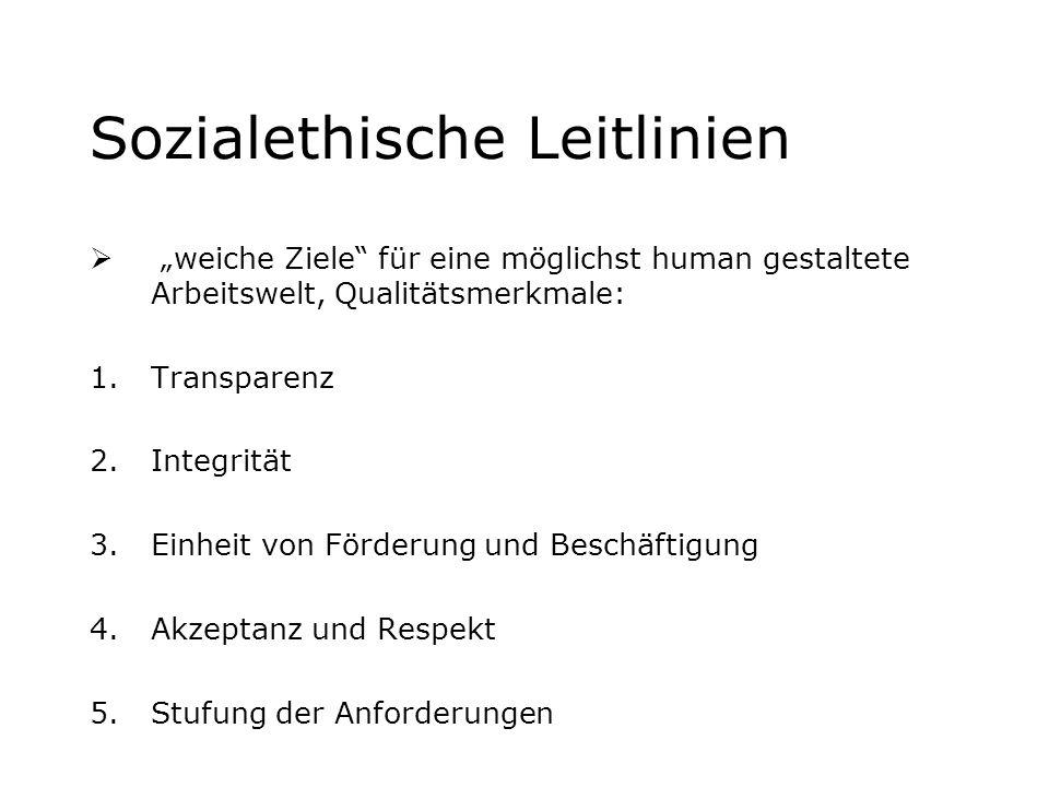 Sozialethische Leitlinien weiche Ziele für eine möglichst human gestaltete Arbeitswelt, Qualitätsmerkmale: 1.Transparenz 2.Integrität 3.Einheit von Fö