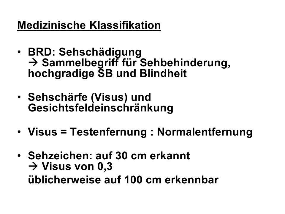 Medizinische Klassifikation BRD: Sehschädigung Sammelbegriff für Sehbehinderung, hochgradige SB und Blindheit Sehschärfe (Visus) und Gesichtsfeldeinsc