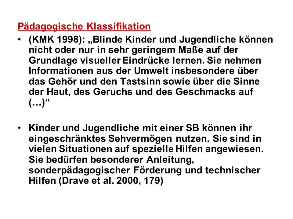 Pädagogische Klassifikation (KMK 1998): Blinde Kinder und Jugendliche können nicht oder nur in sehr geringem Maße auf der Grundlage visueller Eindrück