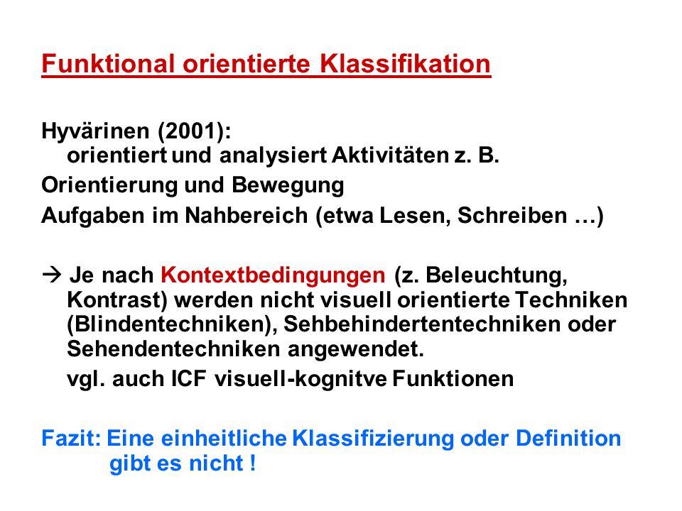 Funktional orientierte Klassifikation Hyvärinen (2001): orientiert und analysiert Aktivitäten z. B. Orientierung und Bewegung Aufgaben im Nahbereich (