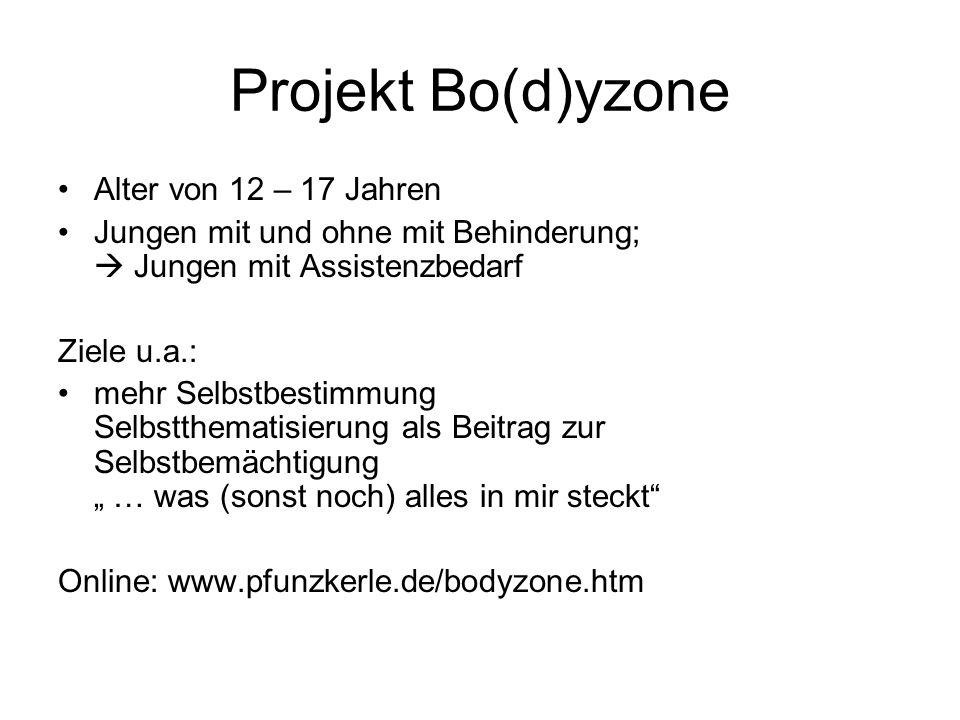 Projekt Bo(d)yzone Alter von 12 – 17 Jahren Jungen mit und ohne mit Behinderung; Jungen mit Assistenzbedarf Ziele u.a.: mehr Selbstbestimmung Selbstth