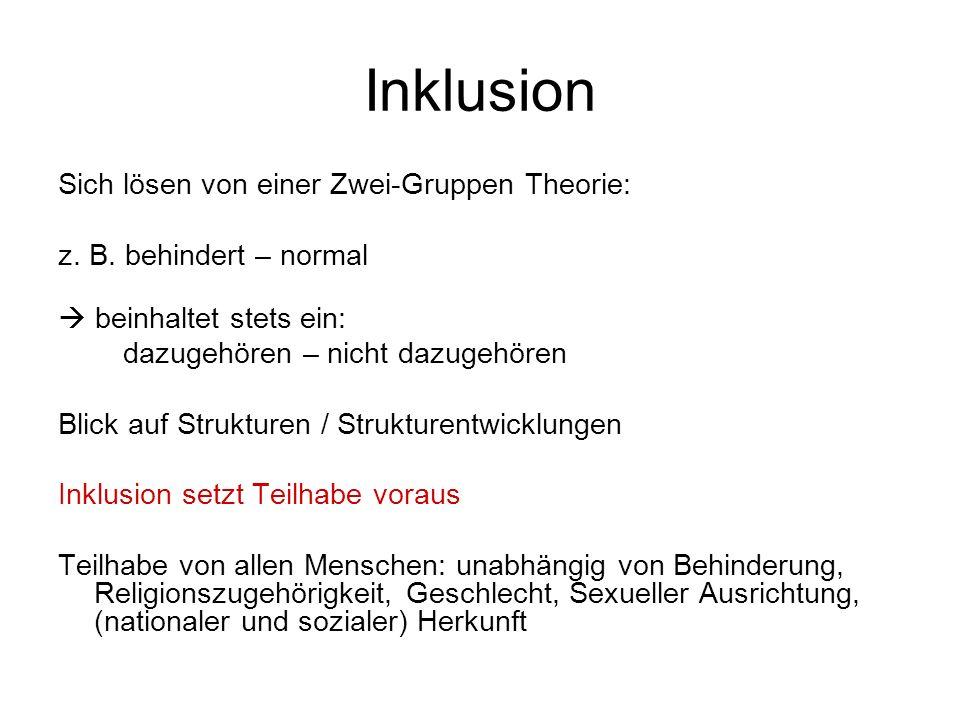 Inklusion Sich lösen von einer Zwei-Gruppen Theorie: z. B. behindert – normal beinhaltet stets ein: dazugehören – nicht dazugehören Blick auf Struktur