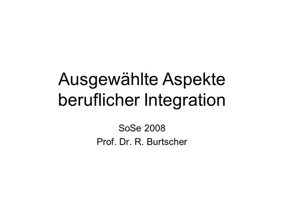 Ausgewählte Aspekte beruflicher Integration SoSe 2008 Prof. Dr. R. Burtscher