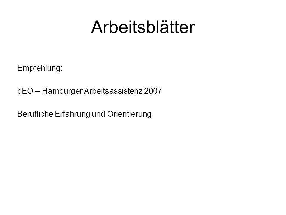 Arbeitsblätter Empfehlung: bEO – Hamburger Arbeitsassistenz 2007 Berufliche Erfahrung und Orientierung