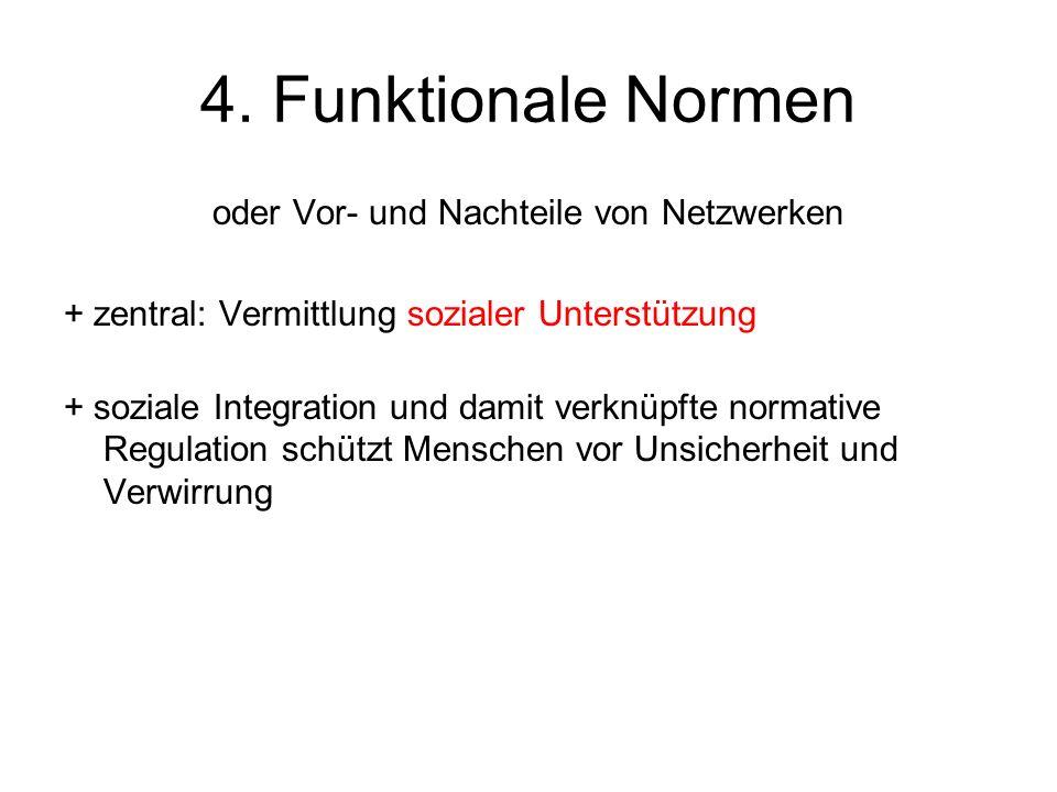 4. Funktionale Normen oder Vor- und Nachteile von Netzwerken + zentral: Vermittlung sozialer Unterstützung + soziale Integration und damit verknüpfte