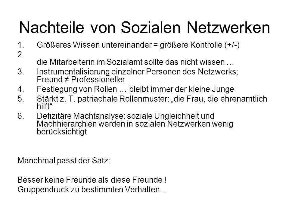 Nachteile von Sozialen Netzwerken 1.Größeres Wissen untereinander = größere Kontrolle (+/-) 2. die Mitarbeiterin im Sozialamt sollte das nicht wissen