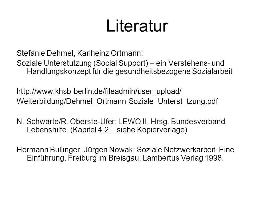 Literatur Stefanie Dehmel, Karlheinz Ortmann: Soziale Unterstützung (Social Support) – ein Verstehens- und Handlungskonzept für die gesundheitsbezogen