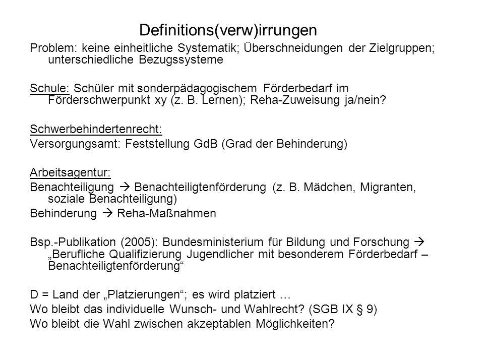 Definitions(verw)irrungen Problem: keine einheitliche Systematik; Überschneidungen der Zielgruppen; unterschiedliche Bezugssysteme Schule: Schüler mit