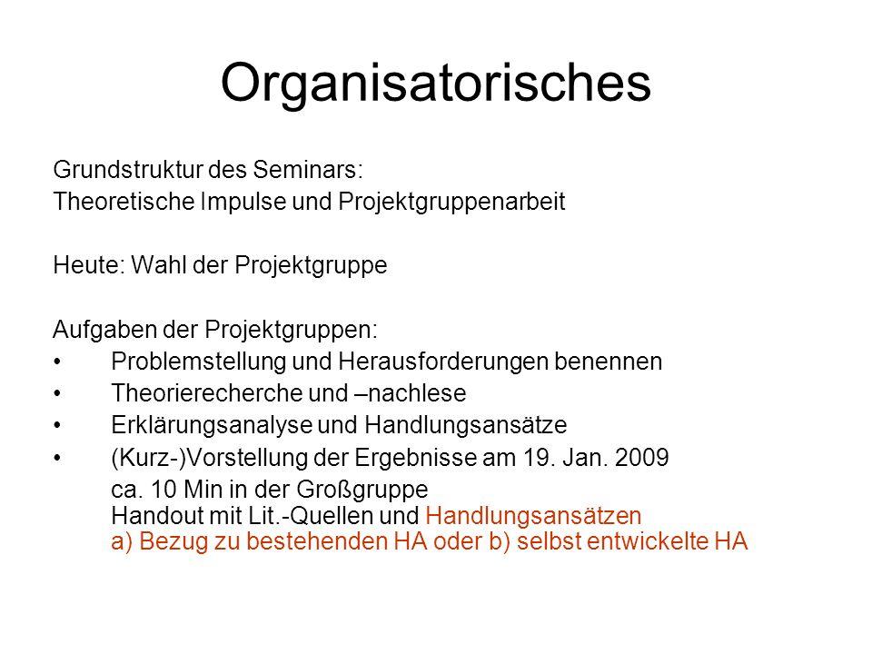 Organisatorisches Grundstruktur des Seminars: Theoretische Impulse und Projektgruppenarbeit Heute: Wahl der Projektgruppe Aufgaben der Projektgruppen: