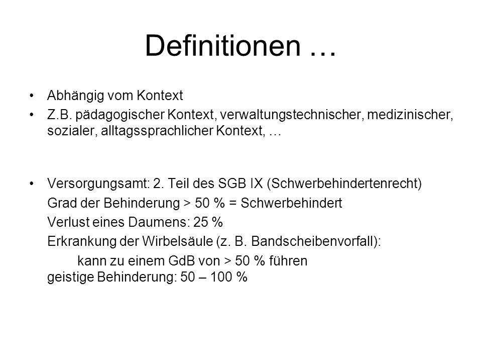 Definitionen … Abhängig vom Kontext Z.B. pädagogischer Kontext, verwaltungstechnischer, medizinischer, sozialer, alltagssprachlicher Kontext, … Versor