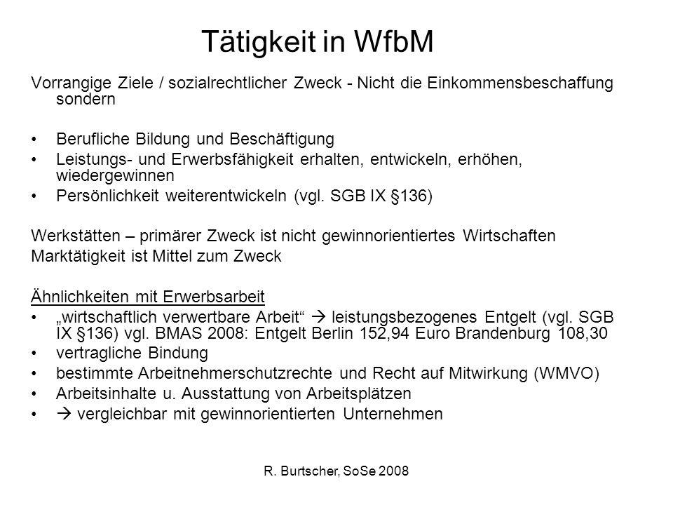 R. Burtscher, SoSe 2008 Tätigkeit in WfbM Vorrangige Ziele / sozialrechtlicher Zweck - Nicht die Einkommensbeschaffung sondern Berufliche Bildung und