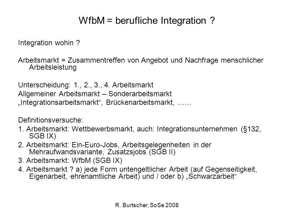 R. Burtscher, SoSe 2008 WfbM = berufliche Integration ? Integration wohin ? Arbeitsmarkt = Zusammentreffen von Angebot und Nachfrage menschlicher Arbe