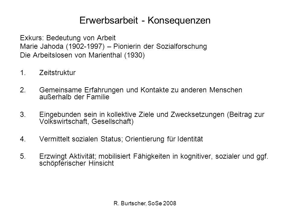 R. Burtscher, SoSe 2008 Erwerbsarbeit - Konsequenzen Exkurs: Bedeutung von Arbeit Marie Jahoda (1902-1997) – Pionierin der Sozialforschung Die Arbeits