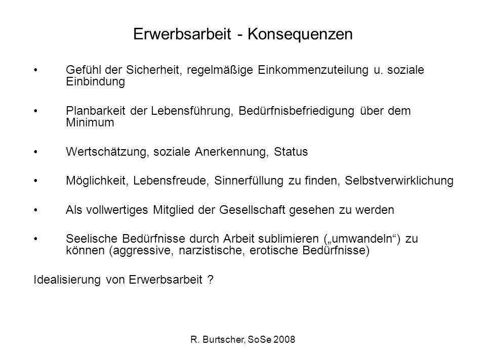 R. Burtscher, SoSe 2008 Erwerbsarbeit - Konsequenzen Gefühl der Sicherheit, regelmäßige Einkommenzuteilung u. soziale Einbindung Planbarkeit der Leben