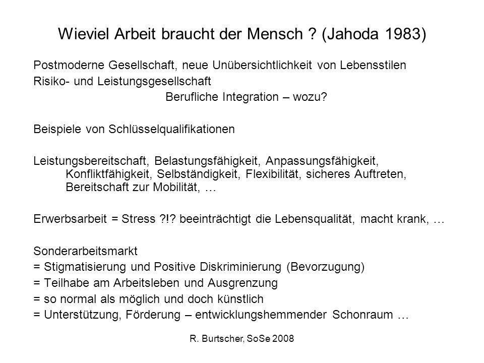 R. Burtscher, SoSe 2008 Wieviel Arbeit braucht der Mensch ? (Jahoda 1983) Postmoderne Gesellschaft, neue Unübersichtlichkeit von Lebensstilen Risiko-
