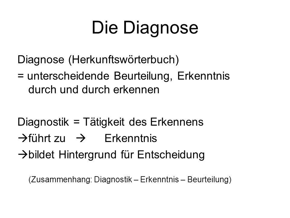 Die Diagnose Diagnose (Herkunftswörterbuch) = unterscheidende Beurteilung, Erkenntnis durch und durch erkennen Diagnostik = Tätigkeit des Erkennens fü