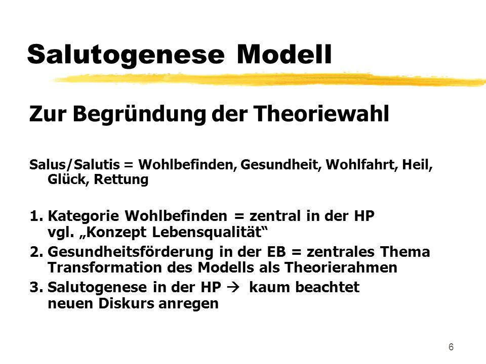 6 Salutogenese Modell Zur Begründung der Theoriewahl Salus/Salutis = Wohlbefinden, Gesundheit, Wohlfahrt, Heil, Glück, Rettung 1. Kategorie Wohlbefind