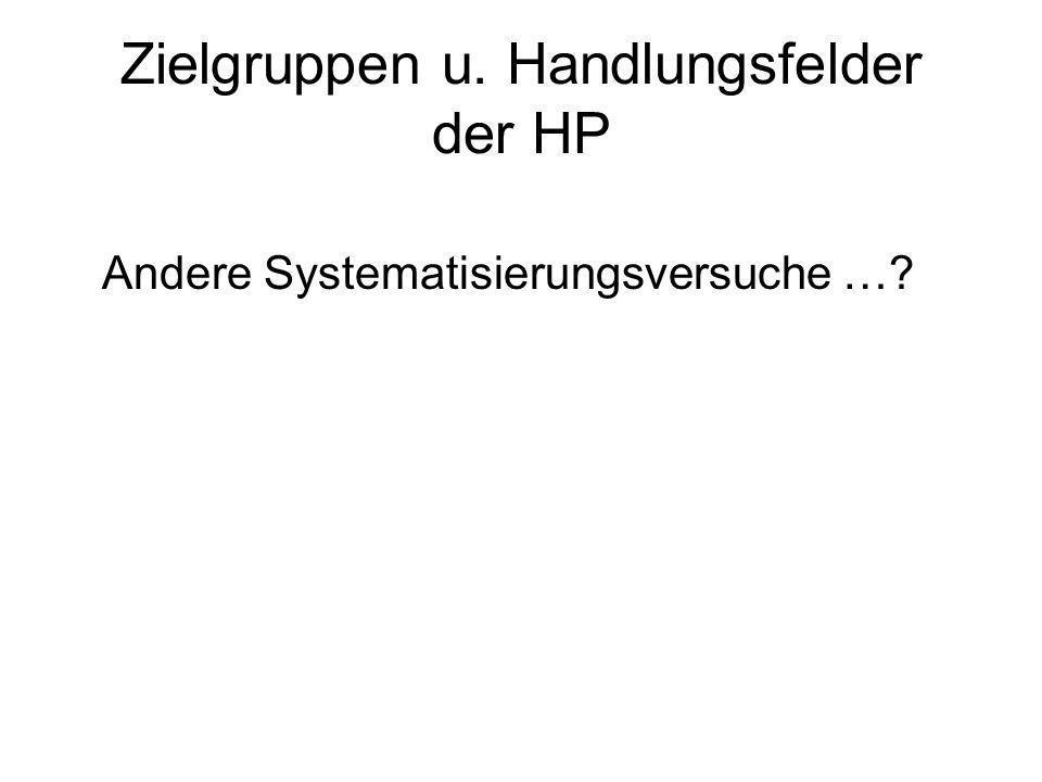 Zielgruppen u. Handlungsfelder der HP Andere Systematisierungsversuche …?