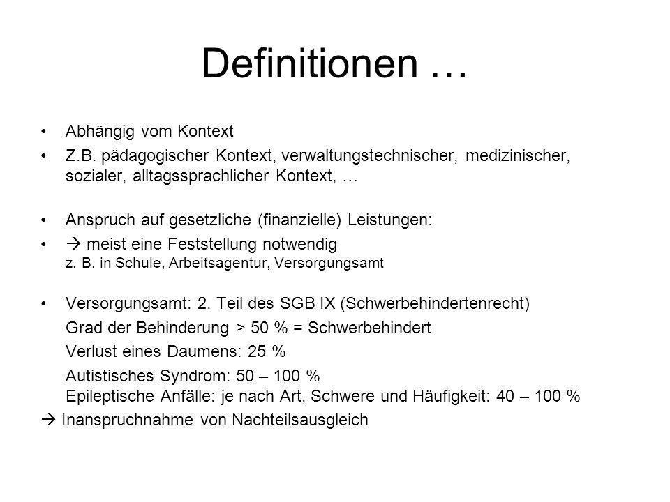 Definitionen … Abhängig vom Kontext Z.B. pädagogischer Kontext, verwaltungstechnischer, medizinischer, sozialer, alltagssprachlicher Kontext, … Anspru