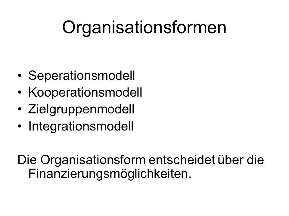 Organisationsformen Seperationsmodell Kooperationsmodell Zielgruppenmodell Integrationsmodell Die Organisationsform entscheidet über die Finanzierungs