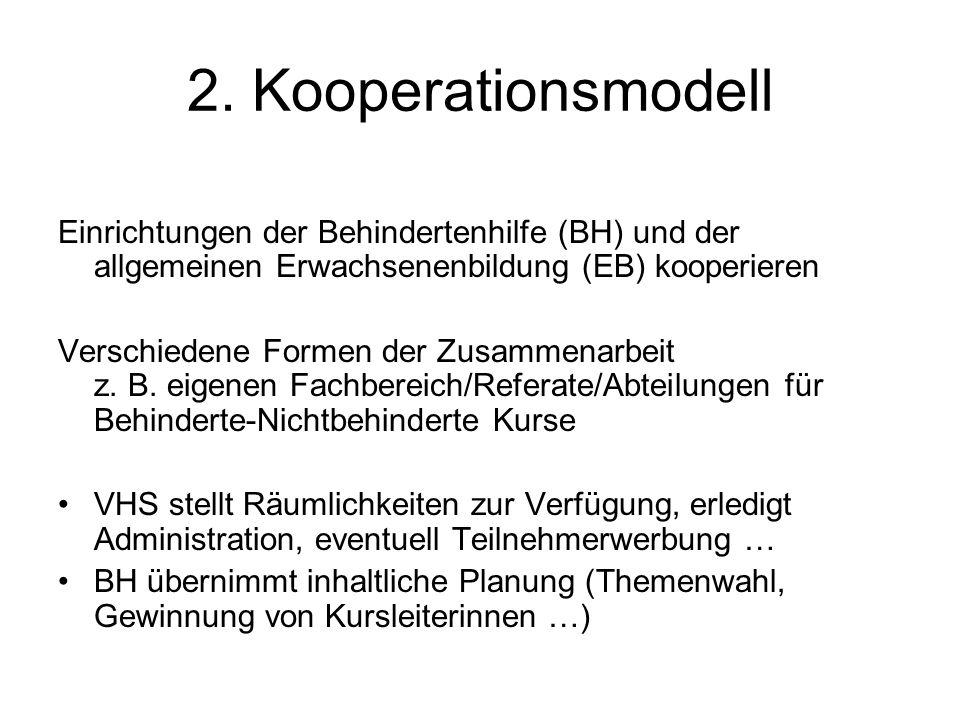 2. Kooperationsmodell Einrichtungen der Behindertenhilfe (BH) und der allgemeinen Erwachsenenbildung (EB) kooperieren Verschiedene Formen der Zusammen