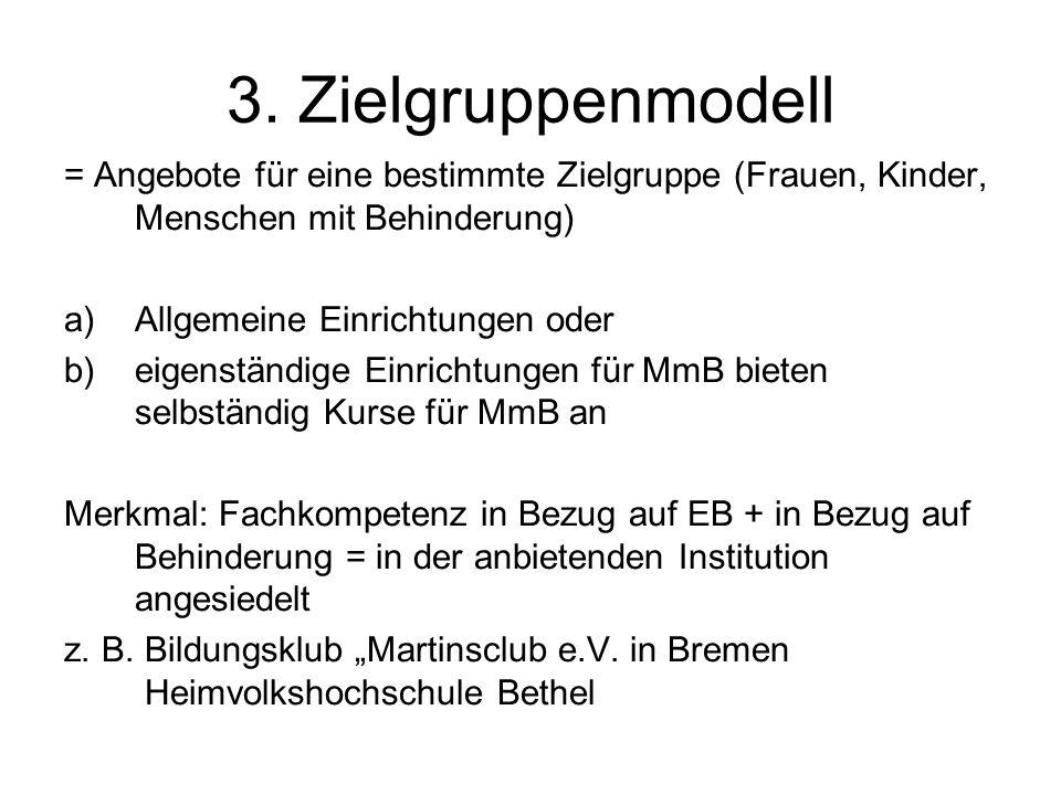 3. Zielgruppenmodell = Angebote für eine bestimmte Zielgruppe (Frauen, Kinder, Menschen mit Behinderung) a)Allgemeine Einrichtungen oder b)eigenständi