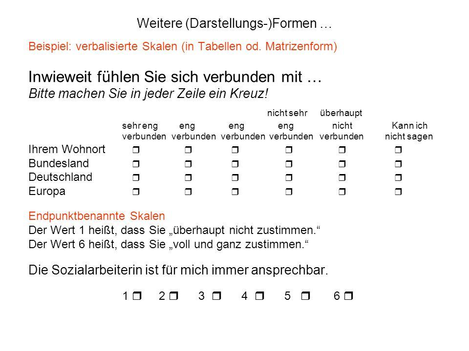 Weitere (Darstellungs-)Formen … Beispiel: verbalisierte Skalen (in Tabellen od. Matrizenform) Inwieweit fühlen Sie sich verbunden mit … Bitte machen S