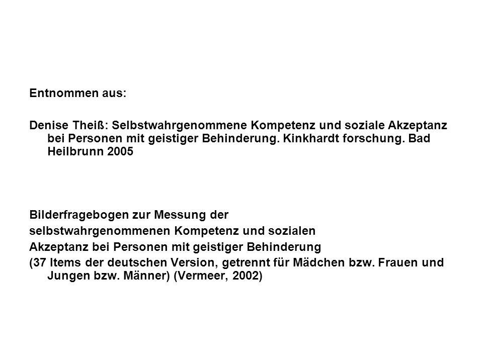 Entnommen aus: Denise Theiß: Selbstwahrgenommene Kompetenz und soziale Akzeptanz bei Personen mit geistiger Behinderung. Kinkhardt forschung. Bad Heil