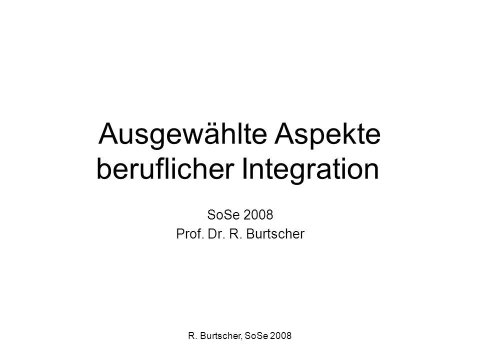 R. Burtscher, SoSe 2008 Ausgewählte Aspekte beruflicher Integration SoSe 2008 Prof. Dr. R. Burtscher