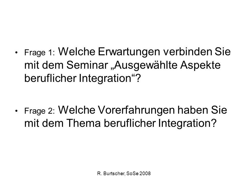 R. Burtscher, SoSe 2008 Frage 1: Welche Erwartungen verbinden Sie mit dem Seminar Ausgewählte Aspekte beruflicher Integration? Frage 2: Welche Vorerfa